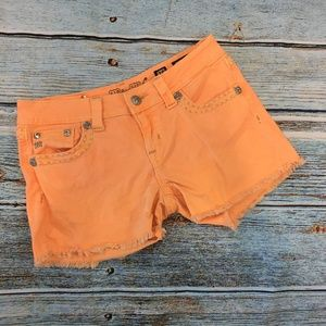 Miss Me Orange Denim Cut Off Shorts 28